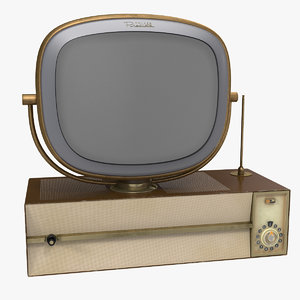 vintage antique 50s tv 3D