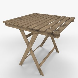 wooden garden table 3D model