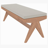 Cassina Jeanneret Civil Wooden Bench with Cushion