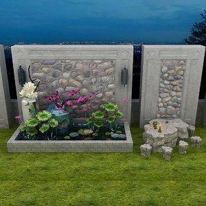 zen garden set stone 3D model