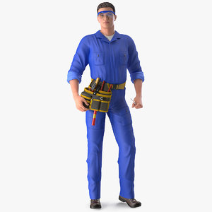 3D electrician standing pose electric model