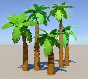 3D model cartoon palms