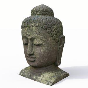 3D buddha head statue model