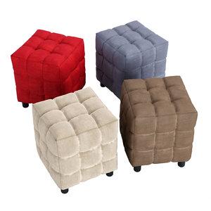 3D model eco-leather cube ottoman