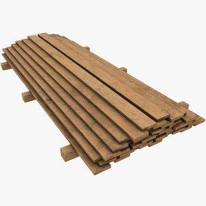 3D pbr wooden plank