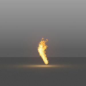 3D burning flames 10 vdb