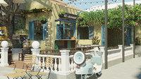 Coffee Restaurant Cafe Garden Exterior Scene