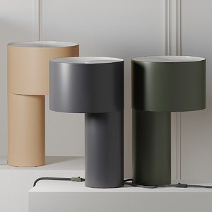 3D model table lamps woud tangent