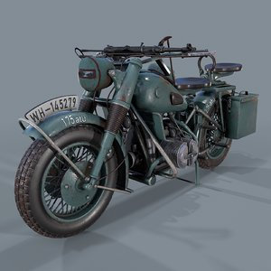 german motorcycle ww2 modeled 3D model