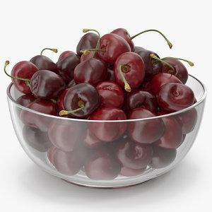 3D cherries glass plate