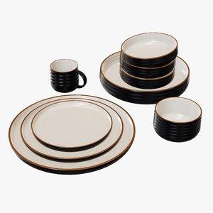 set dinnerware bowl 3D model
