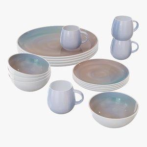 3D set dinnerware bowl model