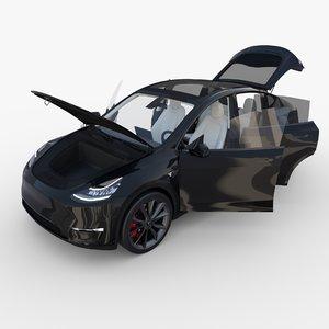 tesla y interior 3D model