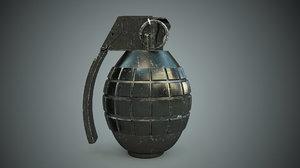 frag grenade close-up renderings 3D model