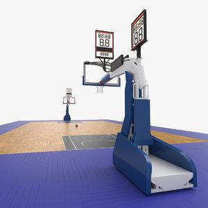 3D model basketball court baskets 01