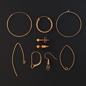3D earring jewelry findings hinges model