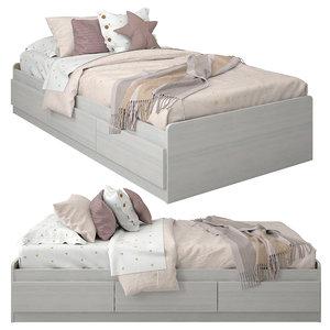 linen bedding 3D model