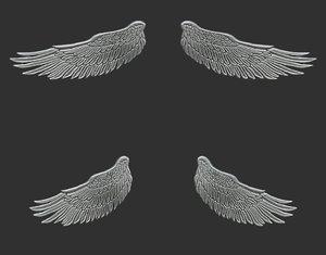 3D wings pendant jewelry model