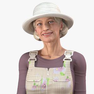 elderly woman farmer rigged model