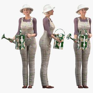 3D elderly woman farmer rigged