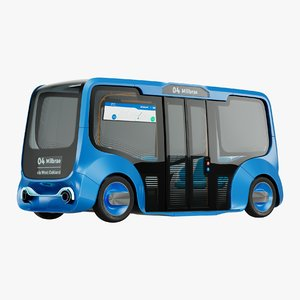 autonomous electric minibus vehicle 3D model