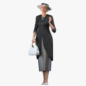 3D old lady wearing casual model