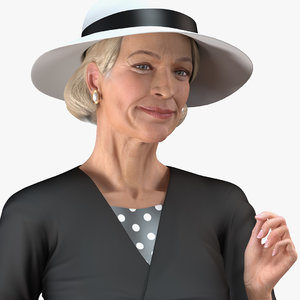 old lady wearing casual 3D