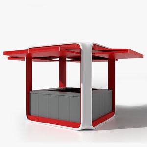 kiosk modern 3d obj