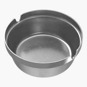 3D stainless steel ashtray model
