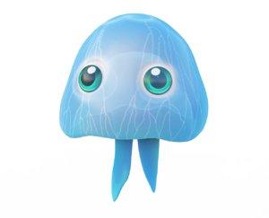 moon jellyfish fish toon model