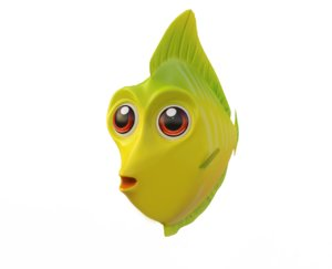 3D yellow tang fish toon