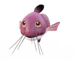 black eeltail catfish toon fish 3D model