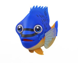 3D blue damselfish fish toon