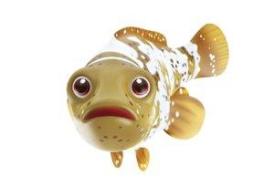 malabar grouper fish toon 3D model