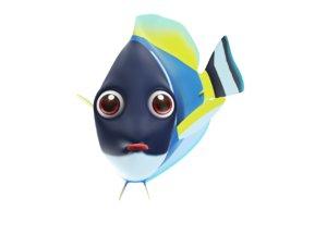 3D bowder blue tang fish toon model