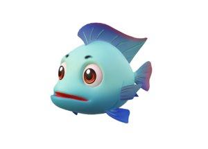 blue tilapia fish toon 3D model