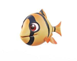 tiger barb fish toon 3D model