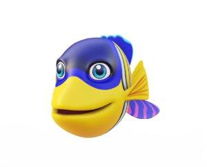 angel fish toon animation 3D model