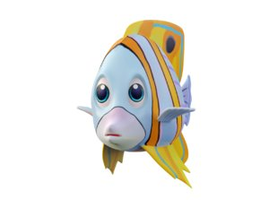 copperband butterfly fish toon 3D model