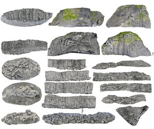 3D model iceland basalt pack cliff