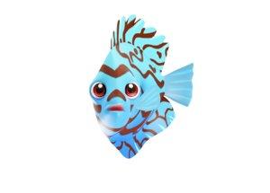 blue discus fish toon model