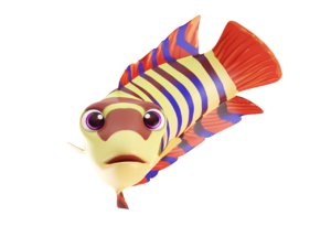 3D ornate climbing perch fish toon