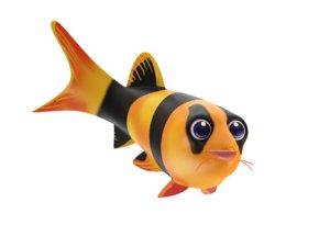 3D model clown cloach fish toon