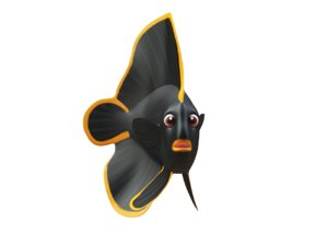 3D red aced bat fish toon