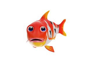 3D model koi fish toon animation