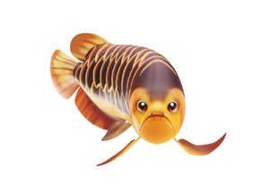 asian arowana fish toon 3D