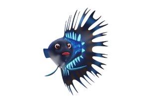 3D siamese fighting fish toon model
