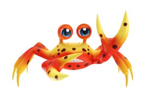 johnson fresh water crab toon 3D model
