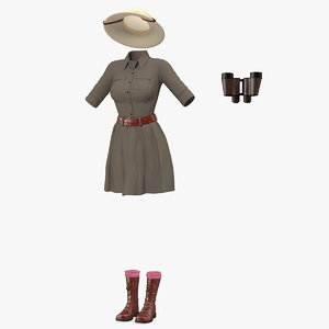 women safari costume binocular 3D model