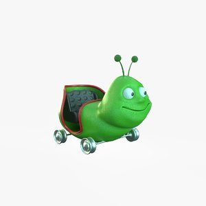 cartoon worm car 3D model